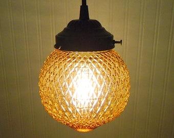 Summerset.  Vintage Amber PENDANT Light Fixture