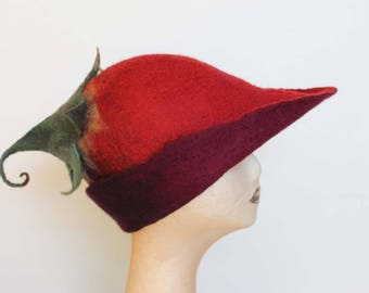 Red Felt Pixie Hat, Hand Felted Hat, Curly Leaf Pixie Hat