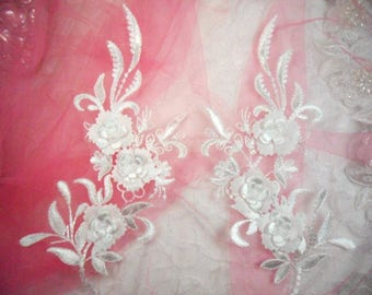 """3D Embroidered Bridal Appliques White Floral Venice Lace Mirror Pair 8"""" Sewing Supplies DIY (DH92X-wh)"""