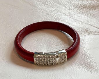 Red leather bracelet with stunning pave magnetic clasp red licorice leather bracelet red leather cuff