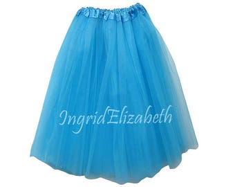 "Turquoise Teen Adult Tutu SALE / Size ""Large"" Tutu Skirt / Waist Stretch 18-36"" / Three Layer"