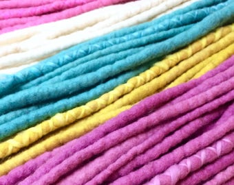 Unicorn Milkshake - Wool Dreadlocks - Set of 64- with wraps