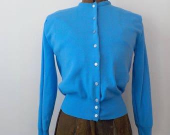 Vintage Ban-Lon Cardigan Sweater • Vintage Blue Remy Mid Century Sweater • Vintage Nylon Spring Sweater