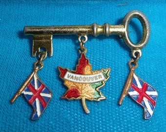 Canadian Souvenir Brooch 1940s, Vancouver BC, Key with Enamel Dangles, Flag, Maple Leaf