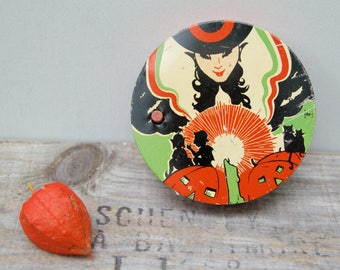 Antique Litho Tin Halloween . Pretty Witch. Orange Black  . Noise Maker.  . Vintage Halloween .  Collectible . Made In USA