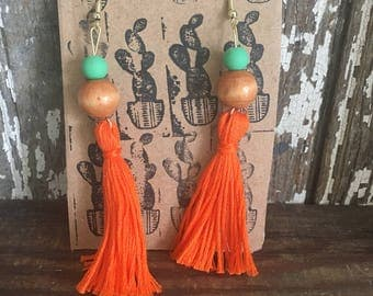 Tassel earrings, orange, mint green and wood