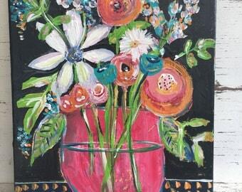 Flower painting , 11 x 14 floral art, fine art, original flower painting