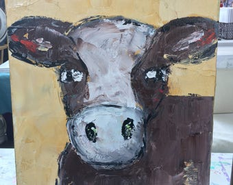 Cow painting , farmhouse decor, yellow, original painting , 11 x 14 with 1.5 deep profile canvas