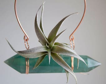 Gardening Gift, Indoor Hanging Planter, Air Plant Crystal, Green Fluorite Air Plant Swing, Chiapensis, Gift For Green Thumb, Boho Wall Decor