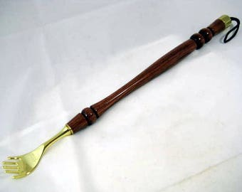 Back Scratcher Polished Brass 16 inch Rosewood handle attached hanger