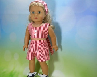 18 inch doll clothes, Three Piece Outfit, Red Striped Top, Shorts and Headband, 05-2102