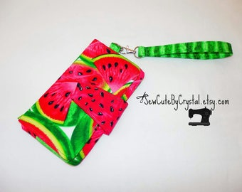 Ready to Ship - WATERMELON, SEEDS & GREEN Wallet Clutch with 8 Credit Card Slots, 1 Zipper pouch, and 2 Slots for Money