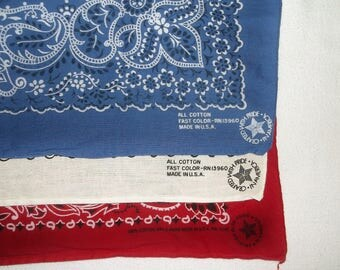 3 Vintage cotton Crafted in America Bandannas • Red, White & Blue bandana Lot