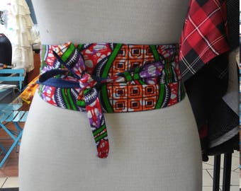 Reversible Ankara Obi Belt in African Wax Block Vlisco Cotton and Denim