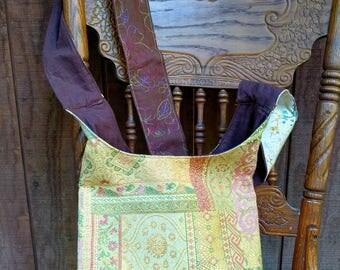 Gift for Her, Gift Ready to Ship, Hippie Hobo Cross Body Bag, Gift Under 50, Gold Brown Gypsy Boho Bag, Laptop Bag, Hippie Shopping Bag