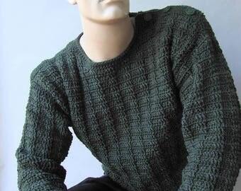 ON SALE Men's Sweater, Men's Wool Sweater, Men's Crochet Sweater, Button Shoulder Sweater, Pullover, Jumper, Hunter Green Sweater,  Availabl