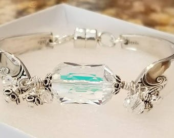 Silver Spoon Bracelet with Artisan Lampwork Glass with a Swarovski Crystal