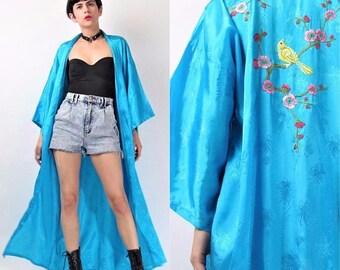 30% Off FLASH SALE Vintage Floral Embroidered Kimono 1960s Chinese Robe Dressing Gown Turquoise Blue Kimono Bird Rayon Asian Oriental Long K