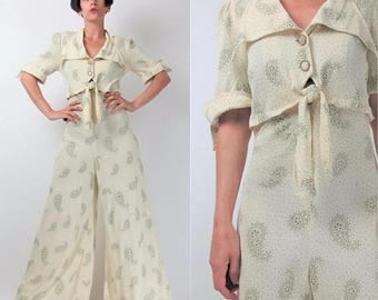 30% Off FLASH SALE 70s Wide Leg Jumpsuit Floral Paisley Print Jumpsuit Cream Pointy Collar Pantsuit Palazzo Pants Tie Waist Button Up Joseph