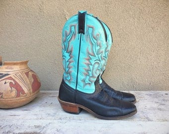 Vintage black and turquoise Size 7 C Women's cowboy boots Boulet Made in Canada square toe