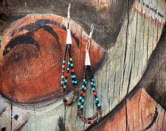 Turquoise Earrings Dangles with Shell Onyx Coral Heishi, Santo Domingo Native American Jewelry