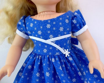 18 inch Doll Clothes Blue Snowflake Christmas Dress Fits American Girl Doll