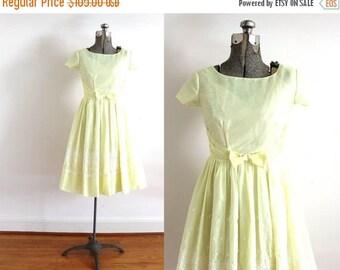 ON SALE 50s Dress / 1950s Yellow Eyelet Bridemaid Dress