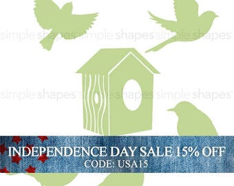 Independence Day Sale - Additional Set of Birds and Birdhouse for Shelving Tree Wall Decal