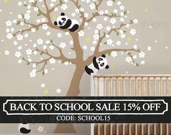 Panda and Cherry Blossom Tree Wall Decal, Panda Wall Decal, Blossom Tree for Baby Nursery, Kids or Childrens