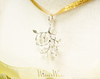 Belle Branch necklace in silver with Swarovski crystals from Beauty and the Beast 2017 silver branch pendant free accessories