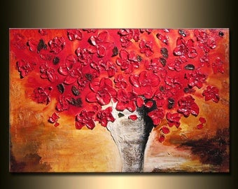Heavy Texture Red Floral Abstract Painting Flowers Bouquet in Vase Ready to Hang 36x24