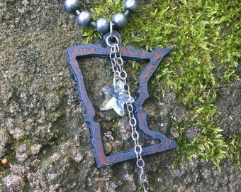 Minnesota,  State,  necklace, crystal , star, anchor.