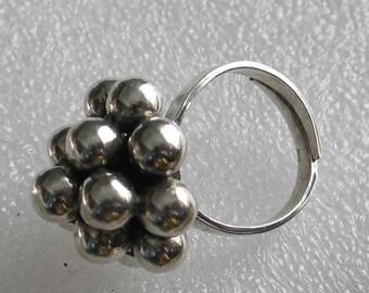 Adjustable  Sterling Cluster Ring Size 7