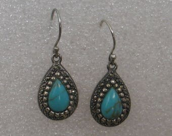 Sterling Silver and Turquoise Tear Drop Earrings