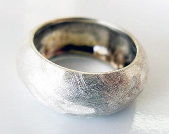 India. Incredible Chunky Statement Wide Domed Silver Ring. Unique Handmade Scratches Silver Band. Unisex Rough Recycled Silver Ring