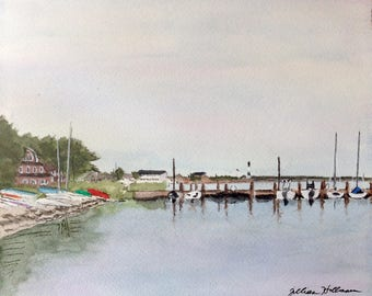 Art Print Bay Basin at Dusk Watercolor