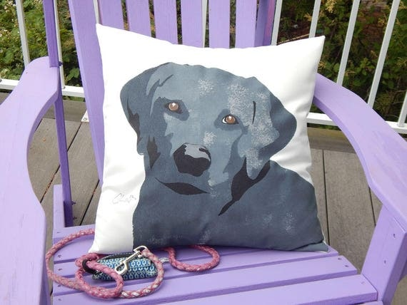 Labrador Retriever outdoor pillow lab choose chocolate, black or gold painted pet dog best friend  Crabby Chris