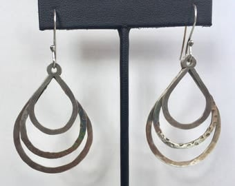Sterling Silver Hammered Teardrop Hoop Earrings