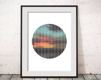 Sunset Mountains Lake Geometric Circle Stripes Minimal Modern Circle Geometric Instant Download Print Wall Art Typography Poster Home Decor