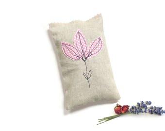 Lavender rose sachet, lavender sachet and rose petals, flower sachet, scented sachet, gift for her, pink gingham check, drawer freshener
