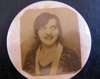 Compact Hand Mirror Flapper 1920s Handmade Miniature Portrait