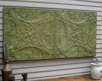 Antique Ceiling Tin. FRAMED 2' x 4'. Ready to hang. Salvaged in Oklahoma. Wall decor. Wall art