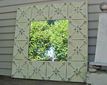 Tin ceiling tile mirror. 2'x2'  Antique architectural salvage. Ivory wall Mirror. Bathroom mirror. Bedroom mirror.
