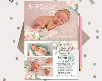Baby Announcement & Thank You Card All in One ·  Watercolor Floral · mint green, peach, and pink