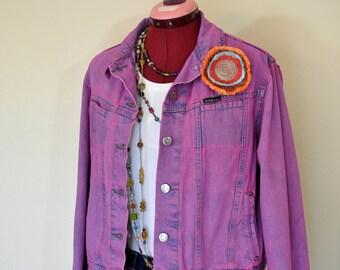 "Fuchsia Medium Denim JACKET - Amethyst Pink Dyed Upcycled Riveted by Lee Distressed Denim Trucker Jacket - Adult Women Sz Medium (40"" chest)"