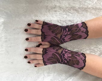 Purple fingerless lace gray  gloves