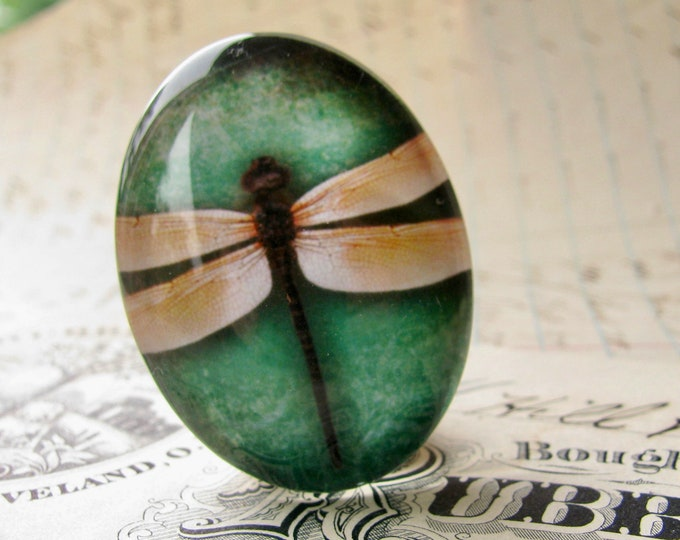 Yellow dragonfly, emerald green background, 40x30mm or 25x18mm handmade glass oval cabochon, insect, bug, garden, Winged Wonders collection