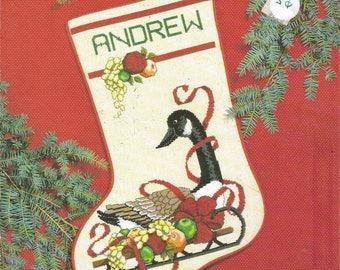 Sleigh Goose Stocking - janlynn Christmas Cross Stitch Pattern