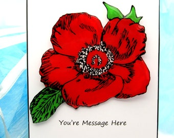 Poppy Pin for Memorial Day or Remembrance Day, Hand Painted Resin Jewelry, Large Flower Brooch, Military Wife Gift