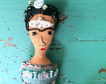 Frida Kahlo Art Doll with Milagros - Frida Kahlo Doll - Frida Doll - Folk Art Doll - Inspired by Mexican Folk Art - Frida Kahlo Art - Beaded